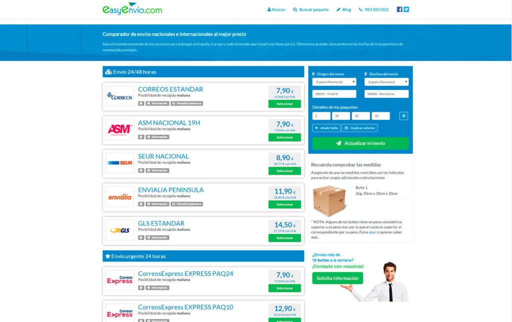 precios envio paquetes mensajeria